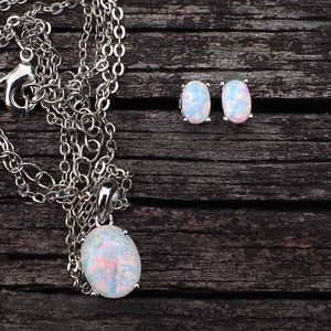 Matching opal necklace & earrings